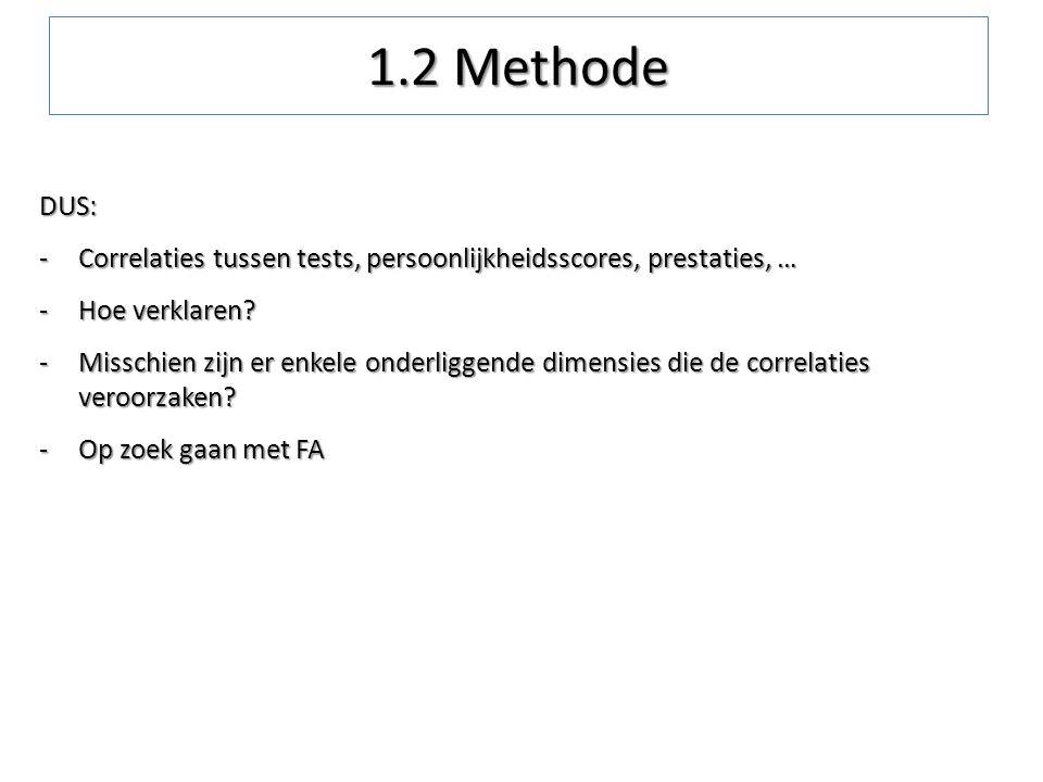 1.2 Methode DUS: Correlaties tussen tests, persoonlijkheidsscores, prestaties, … Hoe verklaren