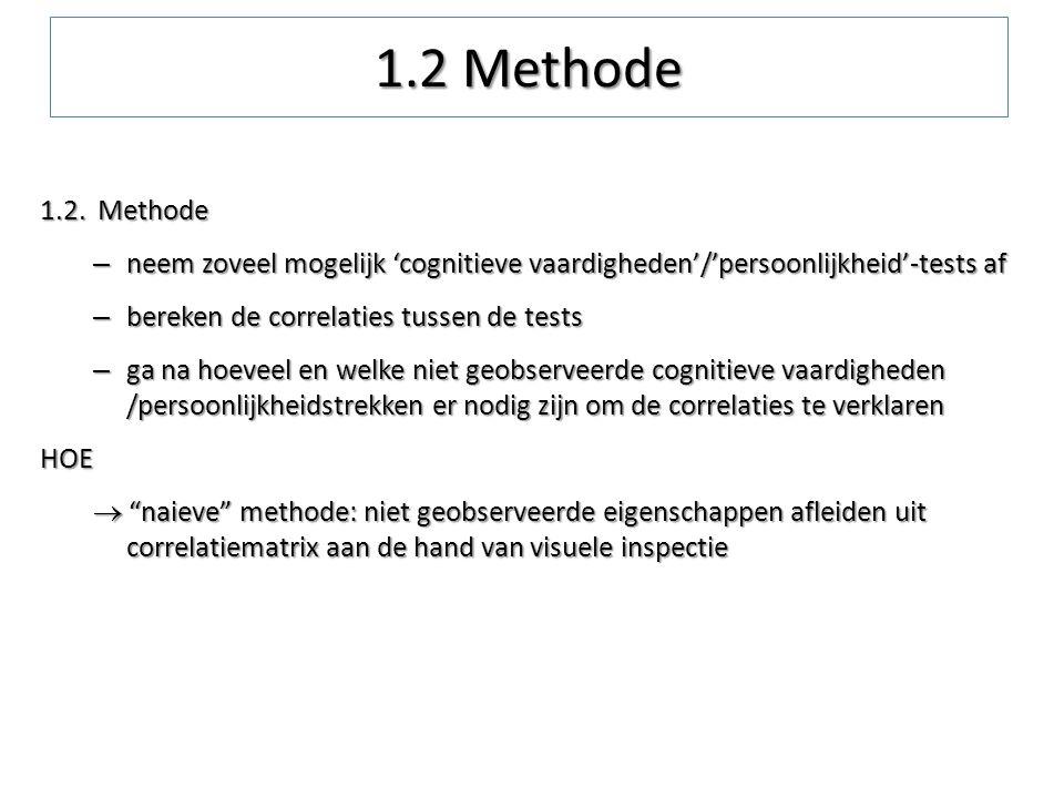 1.2 Methode 1.2. Methode. neem zoveel mogelijk 'cognitieve vaardigheden'/'persoonlijkheid'-tests af.