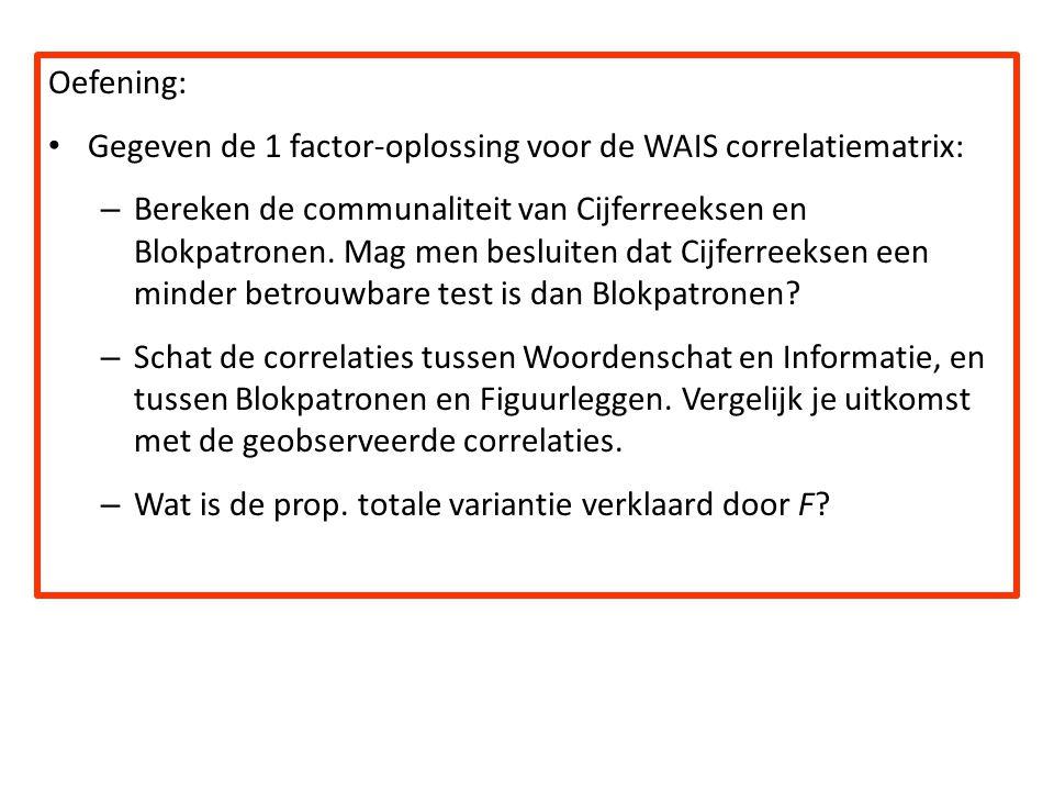 Oefening: Gegeven de 1 factor-oplossing voor de WAIS correlatiematrix: