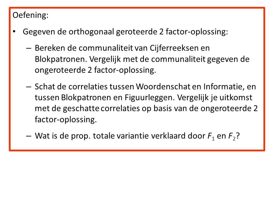 Oefening: Gegeven de orthogonaal geroteerde 2 factor-oplossing: