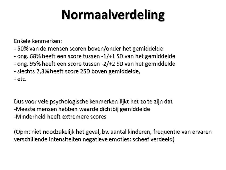 Normaalverdeling Enkele kenmerken: