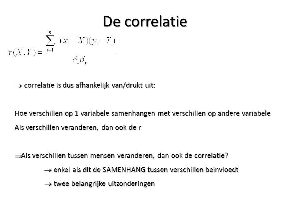De correlatie correlatie is dus afhankelijk van/drukt uit: