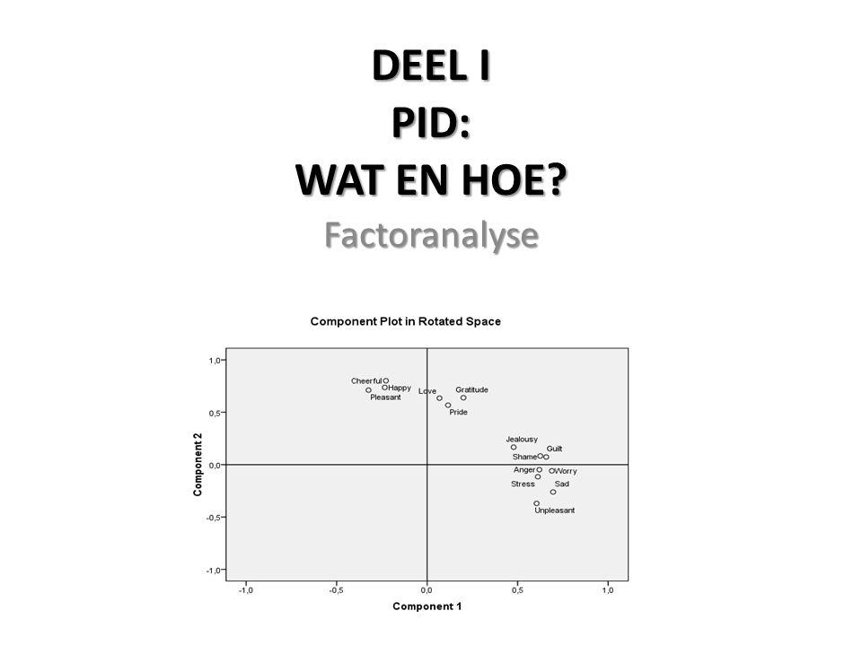 DEEL I PID: WAT EN HOE Factoranalyse
