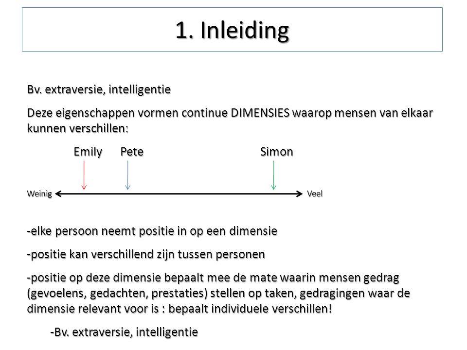 1. Inleiding Bv. extraversie, intelligentie