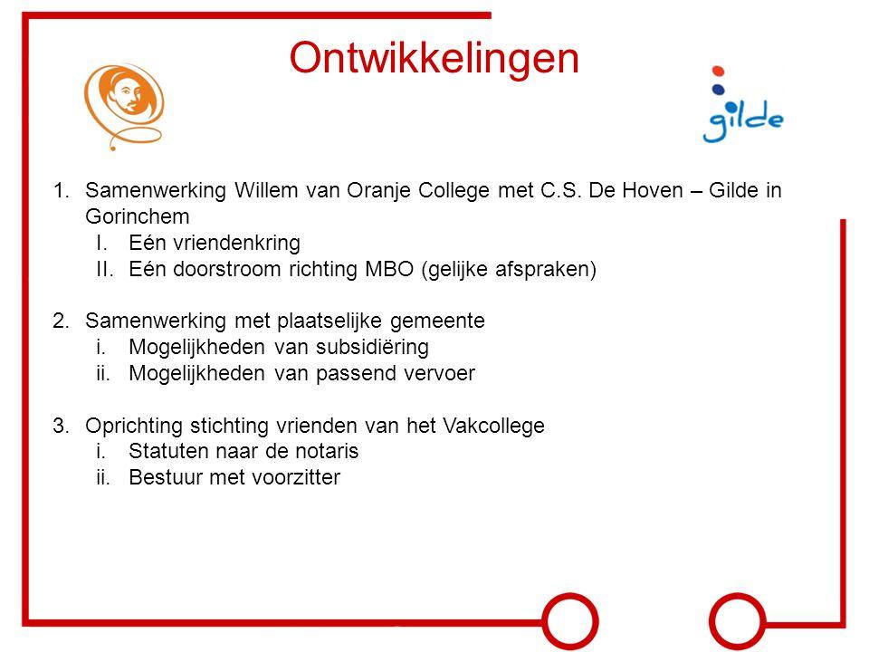 Ontwikkelingen Samenwerking Willem van Oranje College met C.S. De Hoven – Gilde in Gorinchem. Eén vriendenkring.