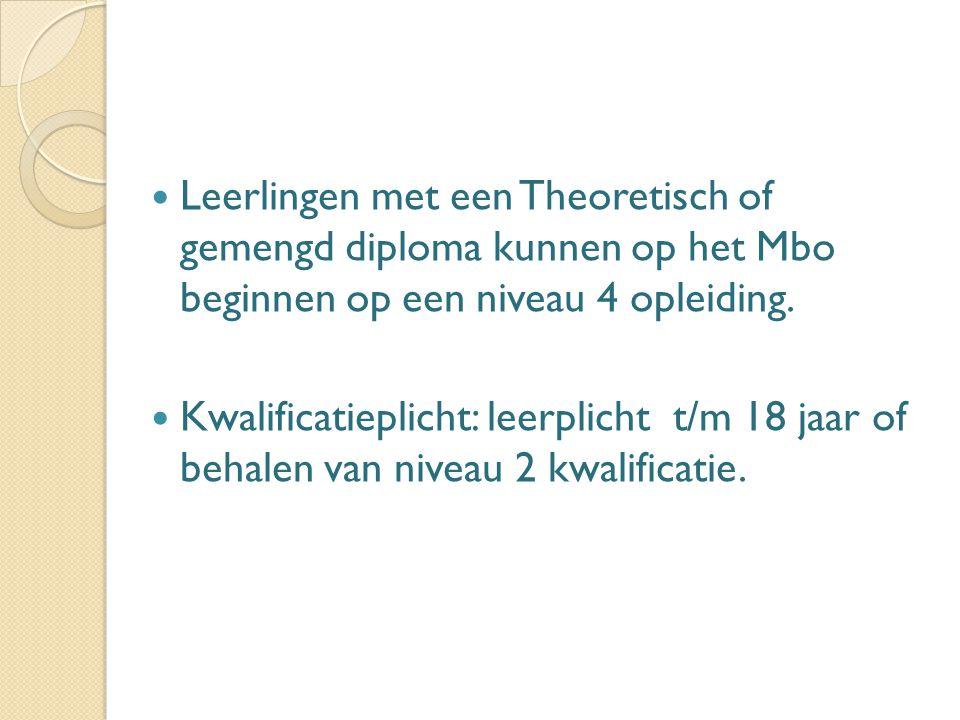 Leerlingen met een Theoretisch of gemengd diploma kunnen op het Mbo beginnen op een niveau 4 opleiding.