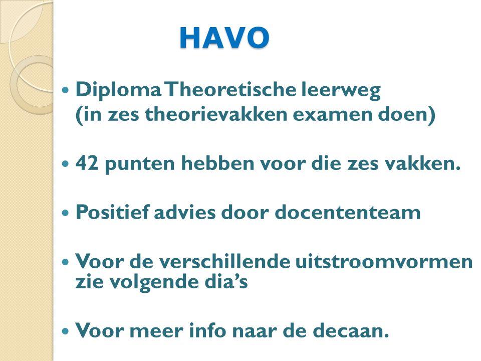 HAVO Diploma Theoretische leerweg (in zes theorievakken examen doen)