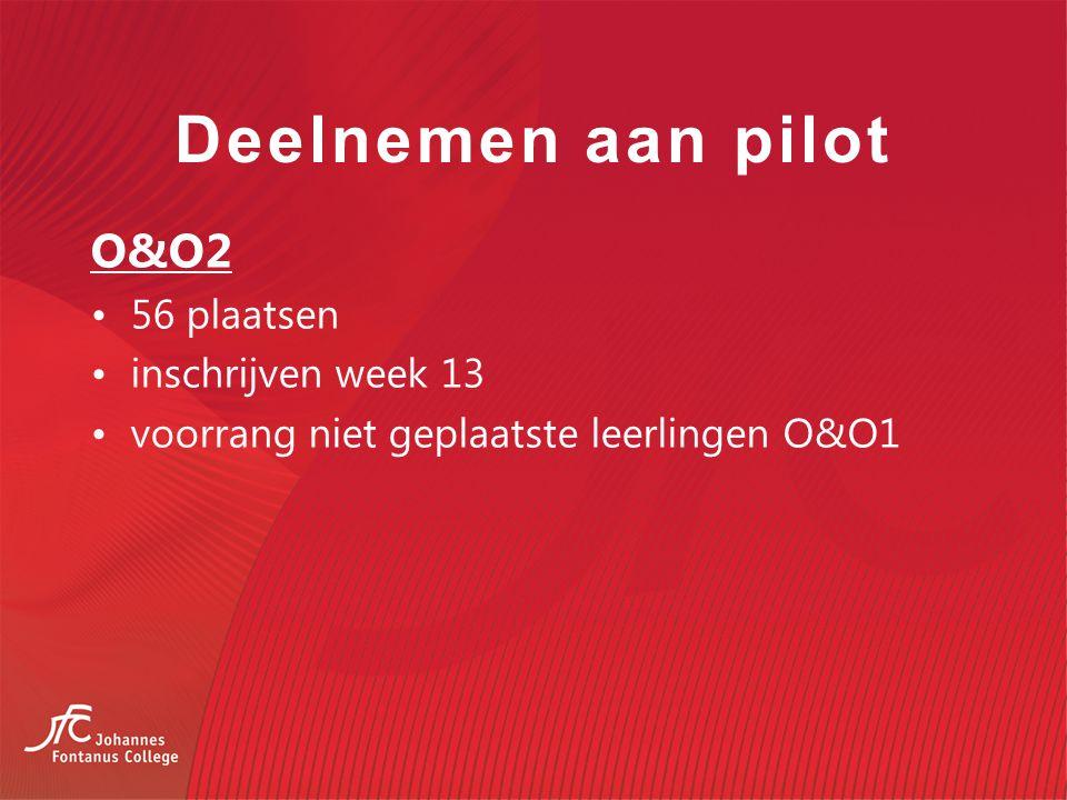 Deelnemen aan pilot O&O2 56 plaatsen inschrijven week 13
