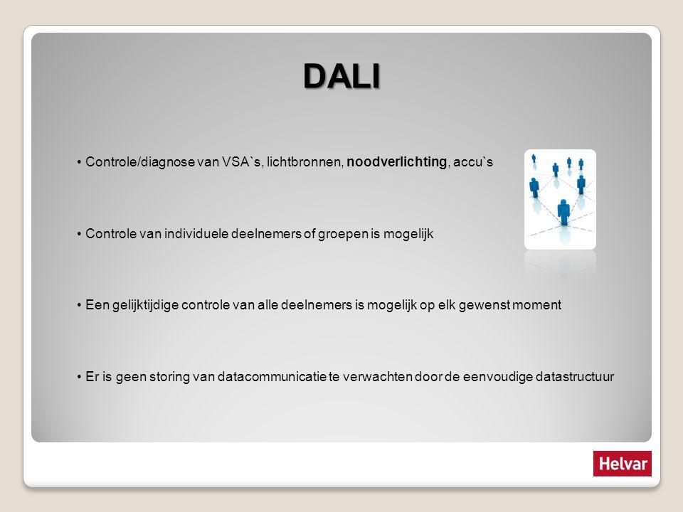 DALI Controle/diagnose van VSA`s, lichtbronnen, noodverlichting, accu`s. Controle van individuele deelnemers of groepen is mogelijk.