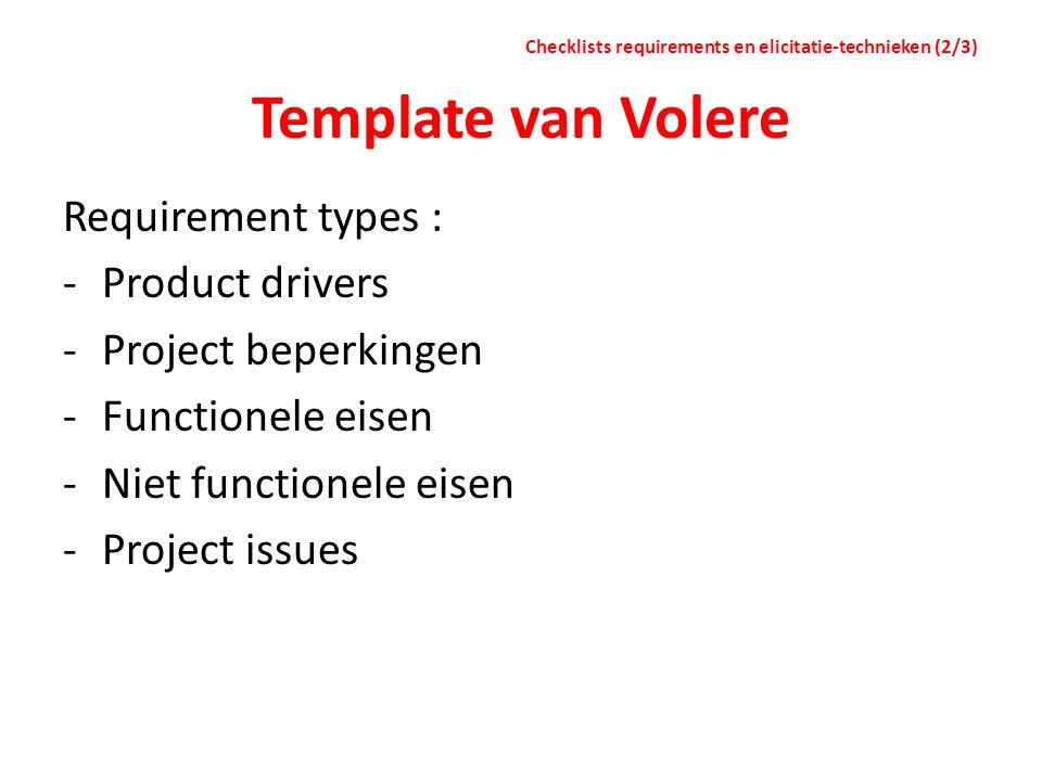 Template van Volere Requirement types : Product drivers