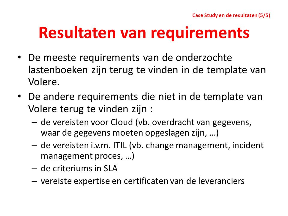 Resultaten van requirements