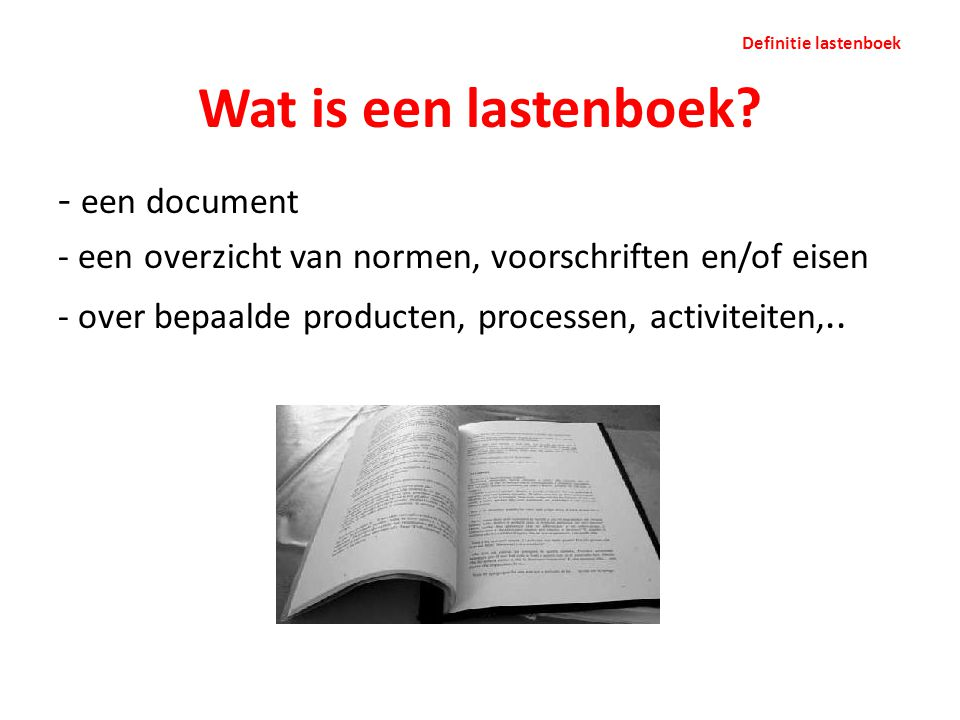 Wat is een lastenboek een document