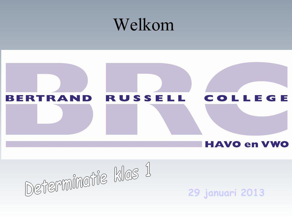 Welkom - Determinatie klas 1 29 januari 2013