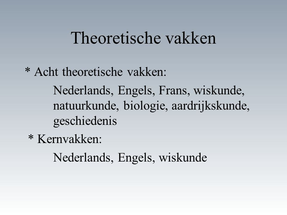 Theoretische vakken