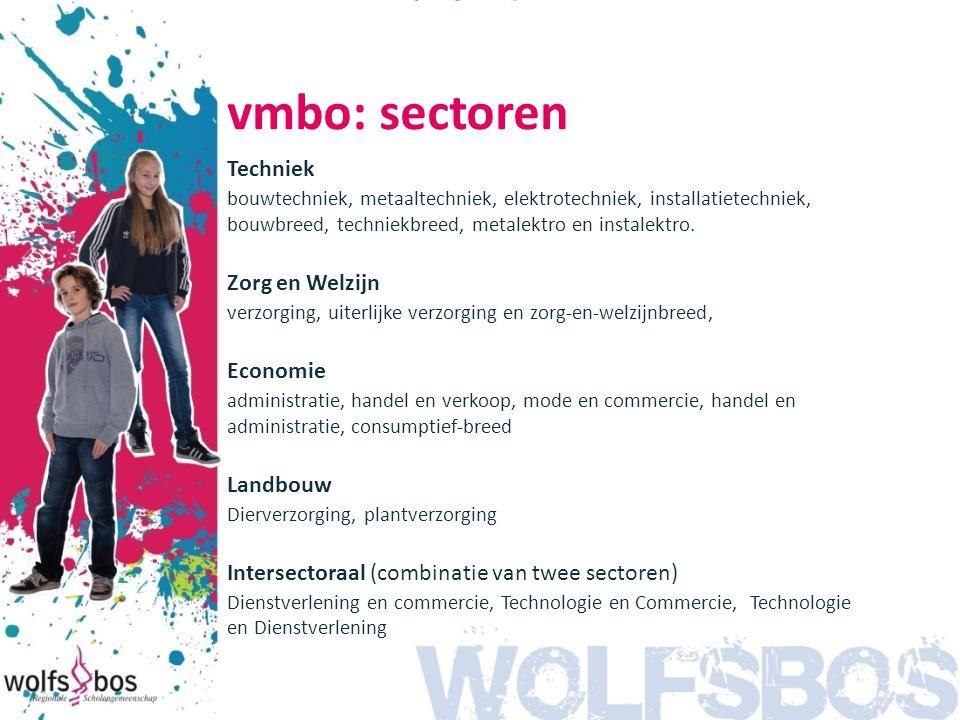 vmbo: sectoren Techniek Zorg en Welzijn Economie Landbouw