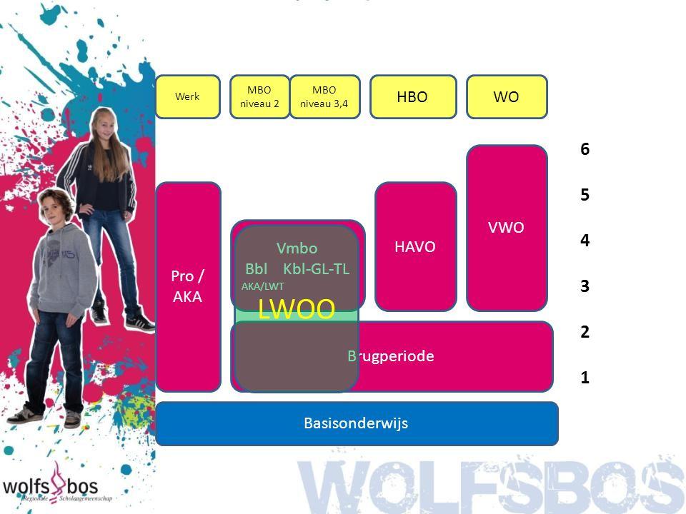LWOO 6 5 4 3 2 1 HBO WO VWO Pro / AKA HAVO Vmbo Bbl Kbl-GL-TL