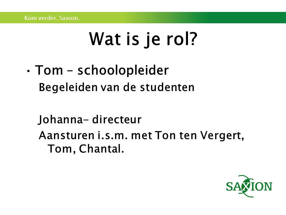 Wat is je rol Tom – schoolopleider Begeleiden van de studenten