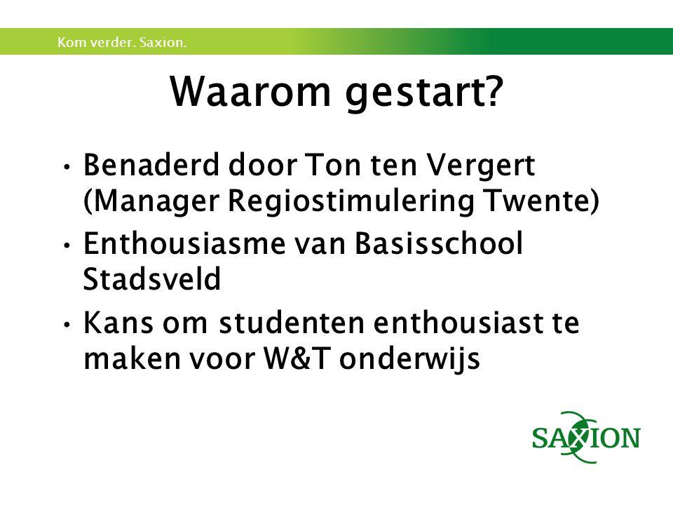 Waarom gestart Benaderd door Ton ten Vergert (Manager Regiostimulering Twente) Enthousiasme van Basisschool Stadsveld.