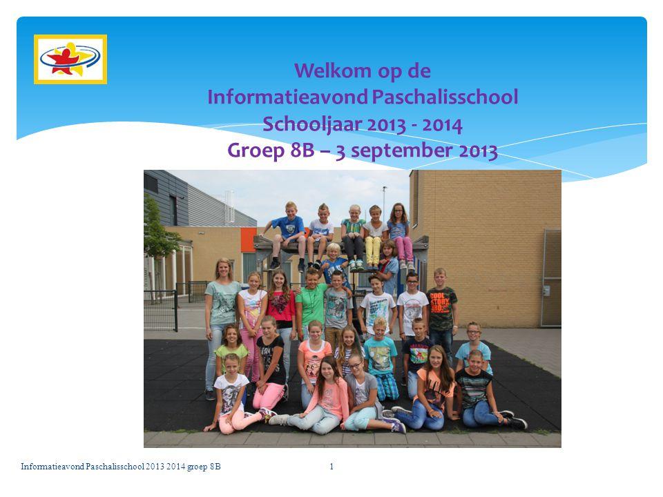 Welkom op de Informatieavond Paschalisschool Schooljaar 2013 - 2014 Groep 8B – 3 september 2013