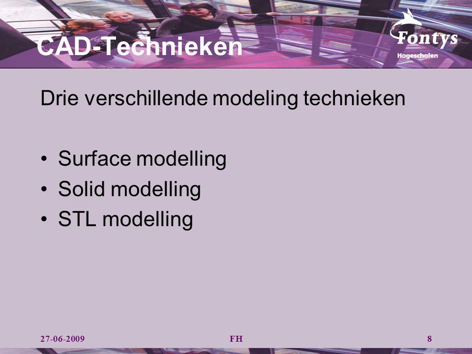 CAD-Technieken Drie verschillende modeling technieken