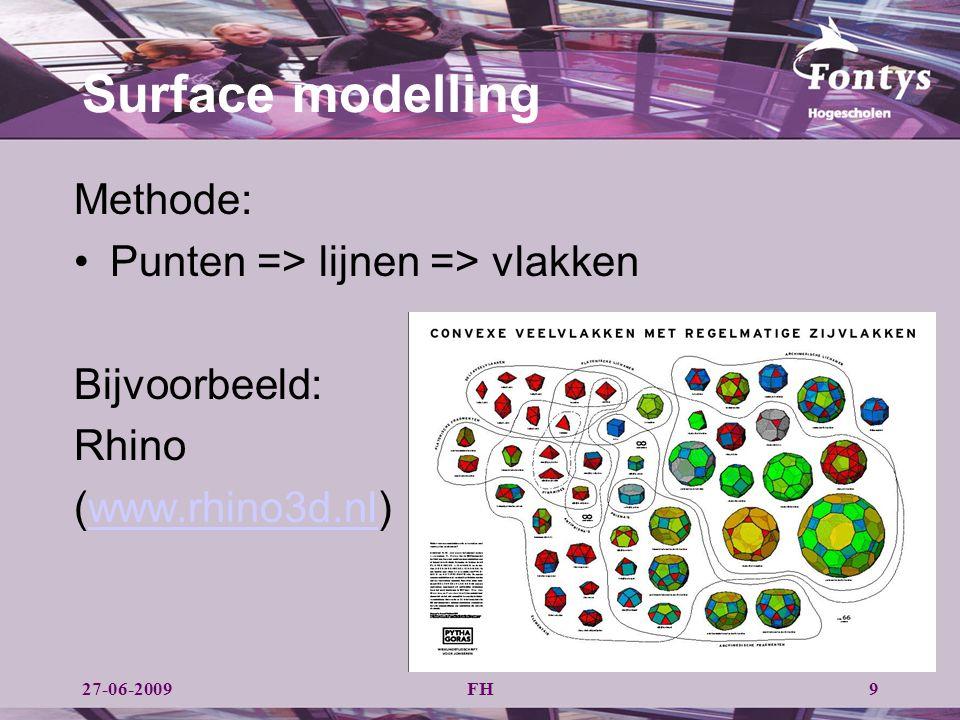 Surface modelling Methode: Punten => lijnen => vlakken