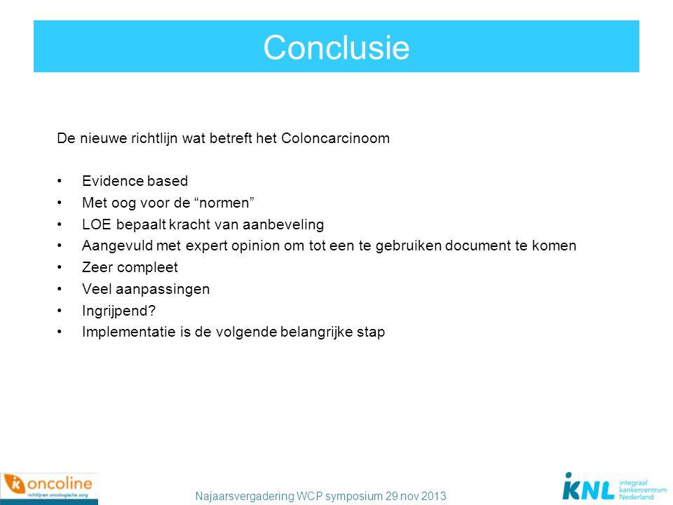Conclusie De nieuwe richtlijn wat betreft het Coloncarcinoom