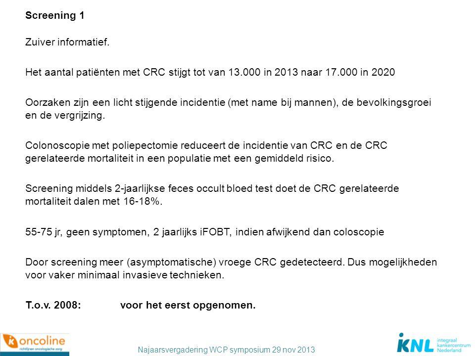 Screening 1 Zuiver informatief. Het aantal patiënten met CRC stijgt tot van 13.000 in 2013 naar 17.000 in 2020.