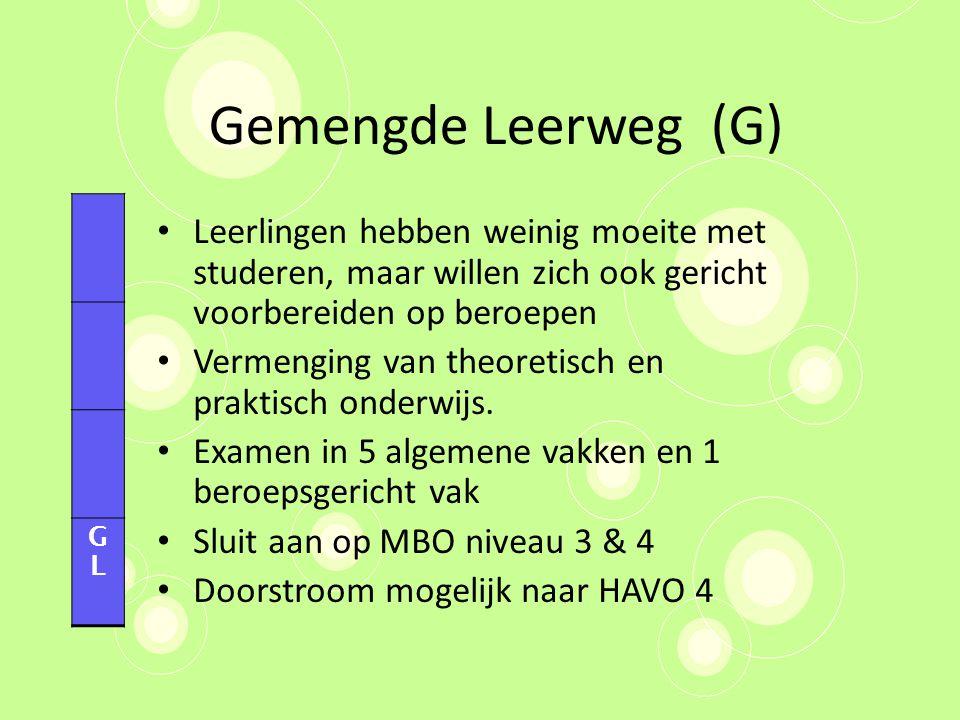 Gemengde Leerweg (G) GL. Leerlingen hebben weinig moeite met studeren, maar willen zich ook gericht voorbereiden op beroepen.