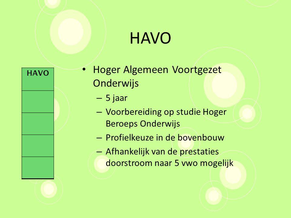 HAVO Hoger Algemeen Voortgezet Onderwijs 5 jaar