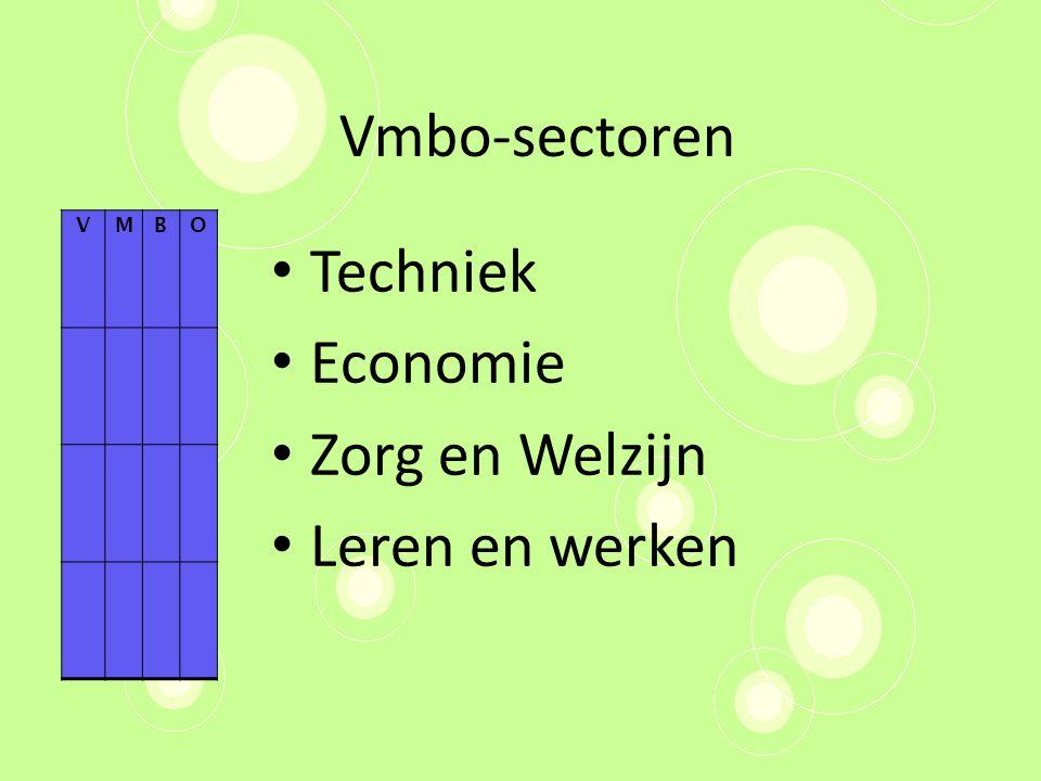 Vmbo-sectoren Techniek Economie Zorg en Welzijn Leren en werken V M B