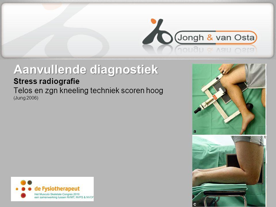 Aanvullende diagnostiek Stress radiografie Telos en zgn kneeling techniek scoren hoog (Jung 2006)