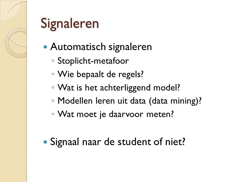 Signaleren Automatisch signaleren Signaal naar de student of niet