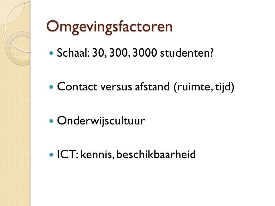Omgevingsfactoren Schaal: 30, 300, 3000 studenten
