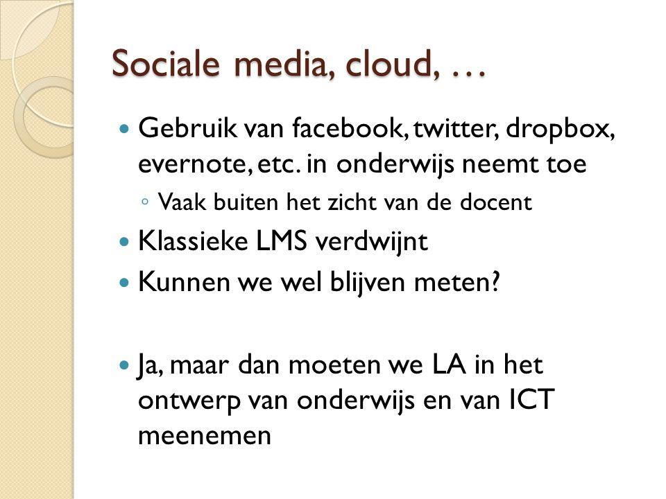 Sociale media, cloud, … Gebruik van facebook, twitter, dropbox, evernote, etc. in onderwijs neemt toe.