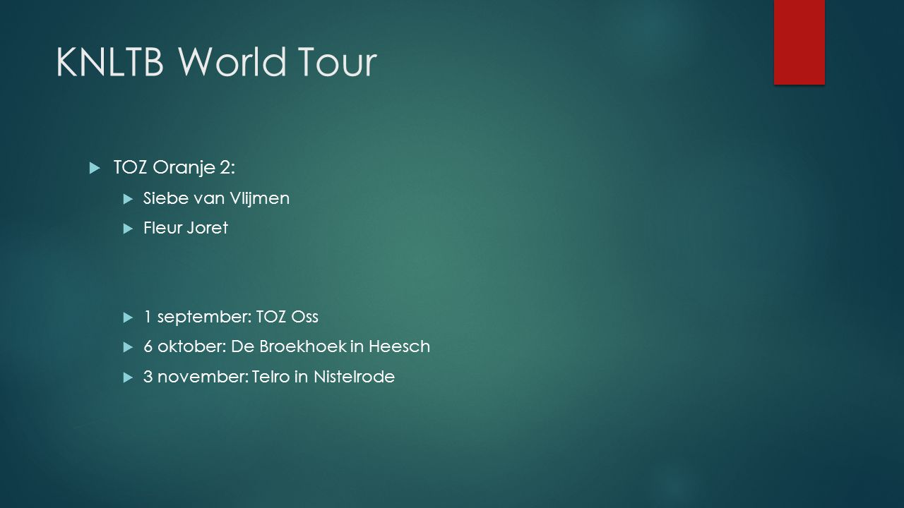 KNLTB World Tour TOZ Oranje 2: Siebe van Vlijmen Fleur Joret