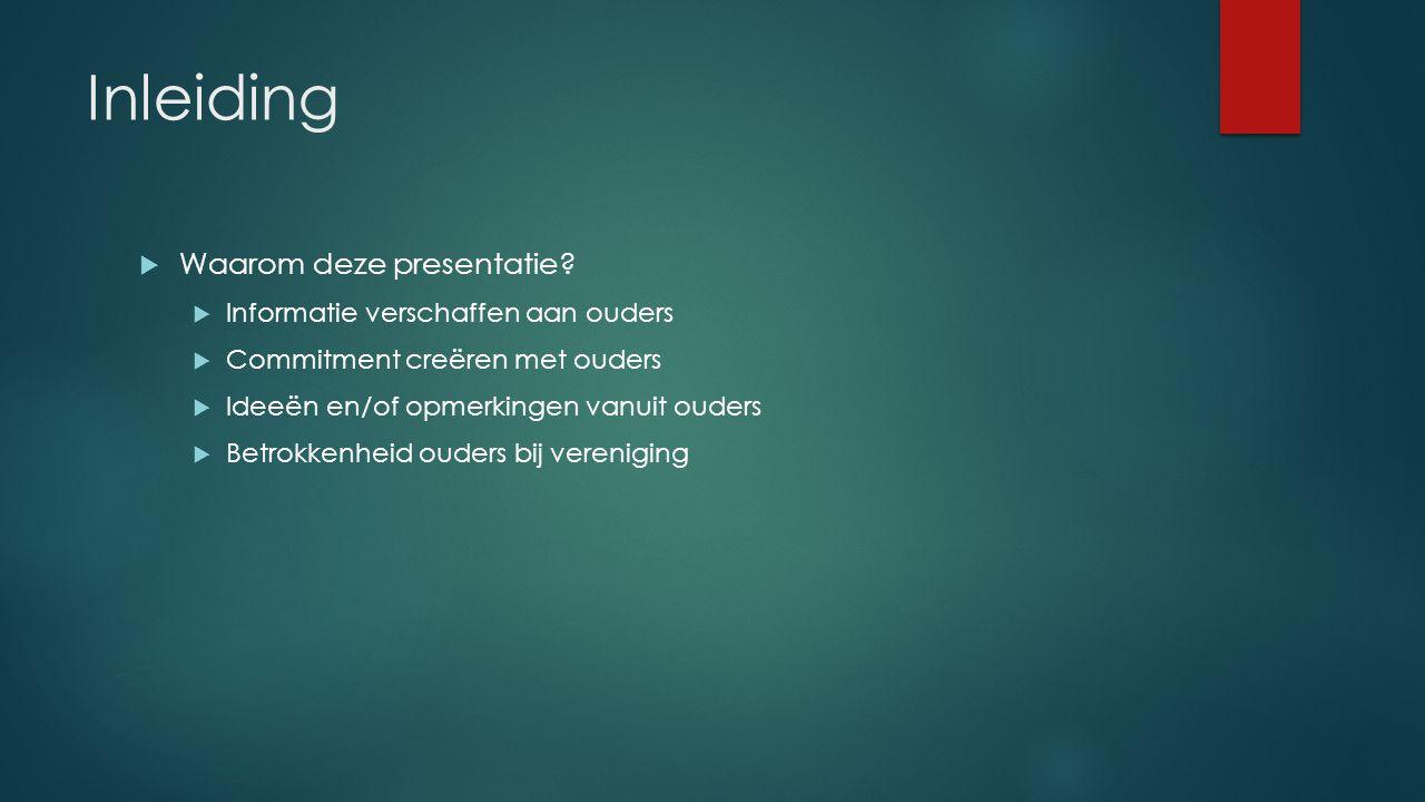 Inleiding Waarom deze presentatie Informatie verschaffen aan ouders