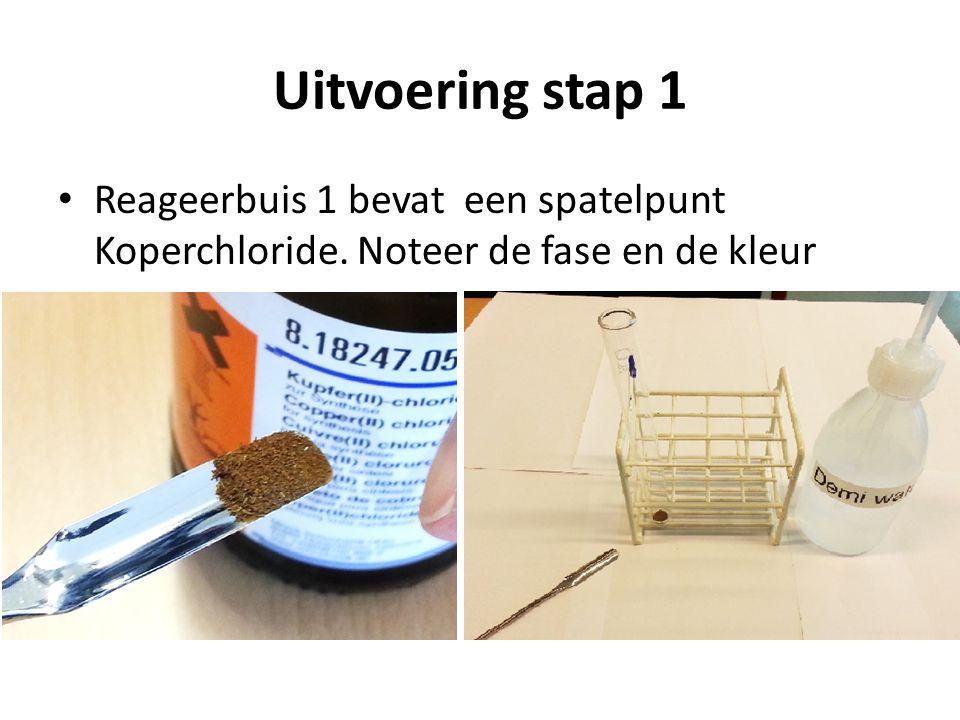 Uitvoering stap 1 Reageerbuis 1 bevat een spatelpunt Koperchloride. Noteer de fase en de kleur