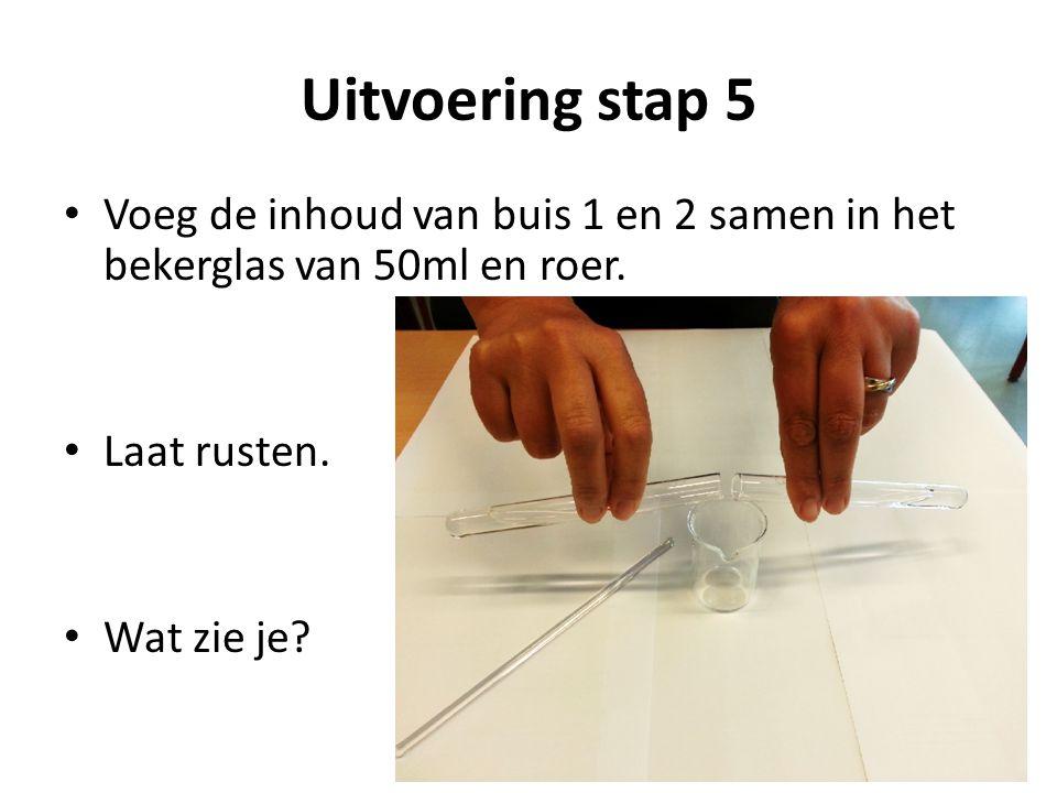 Uitvoering stap 5 Voeg de inhoud van buis 1 en 2 samen in het bekerglas van 50ml en roer. Laat rusten.