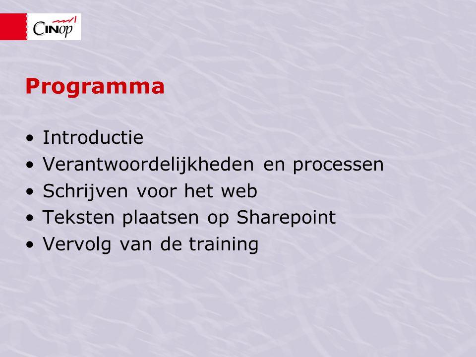 Programma Introductie Verantwoordelijkheden en processen