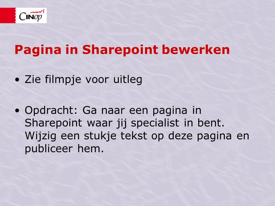 Pagina in Sharepoint bewerken