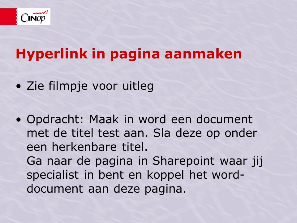 Hyperlink in pagina aanmaken