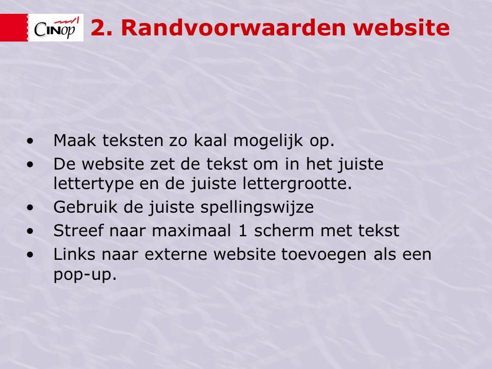 2. Randvoorwaarden website