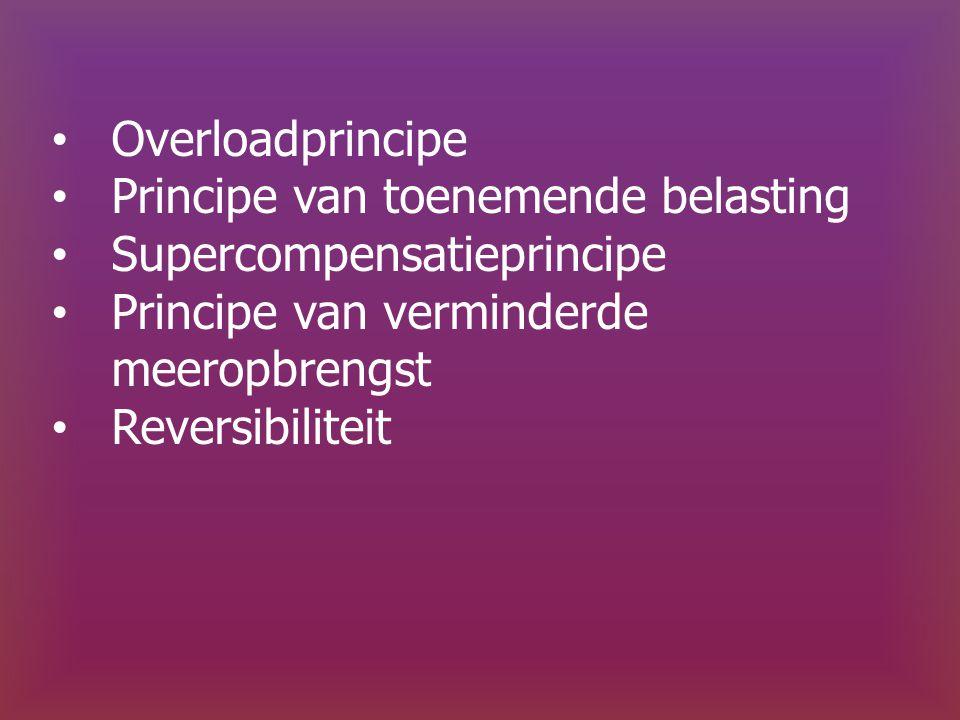 Overloadprincipe Principe van toenemende belasting. Supercompensatieprincipe. Principe van verminderde meeropbrengst.