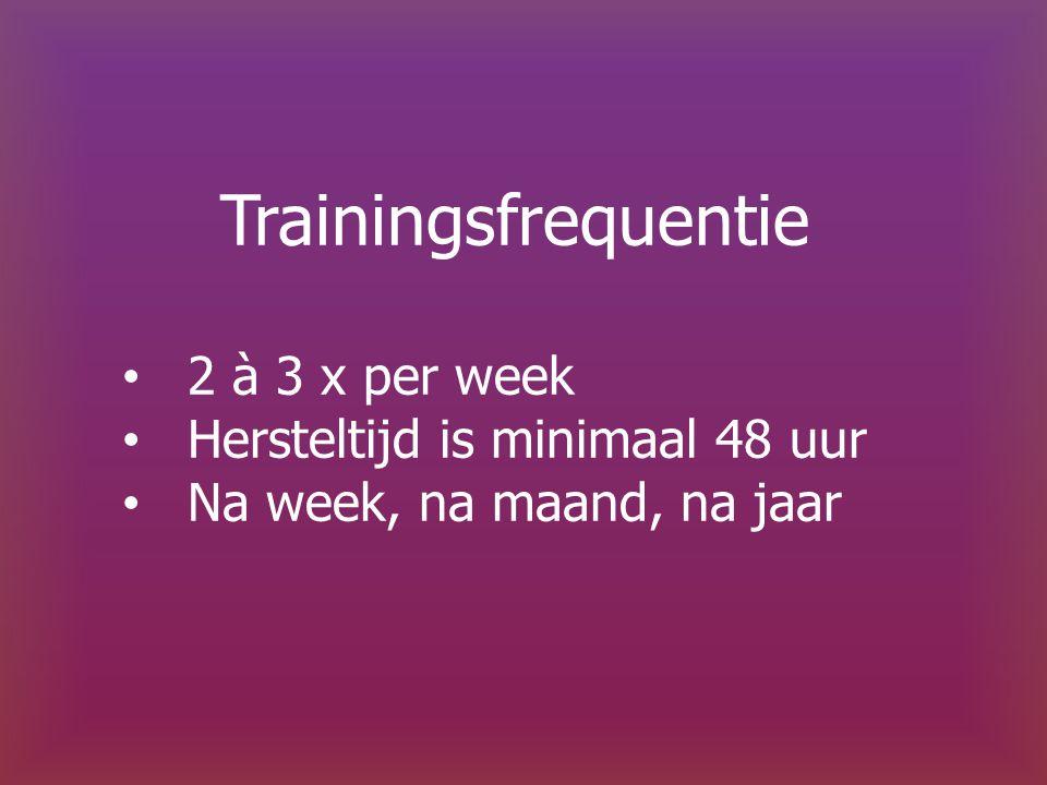 Trainingsfrequentie 2 à 3 x per week Hersteltijd is minimaal 48 uur