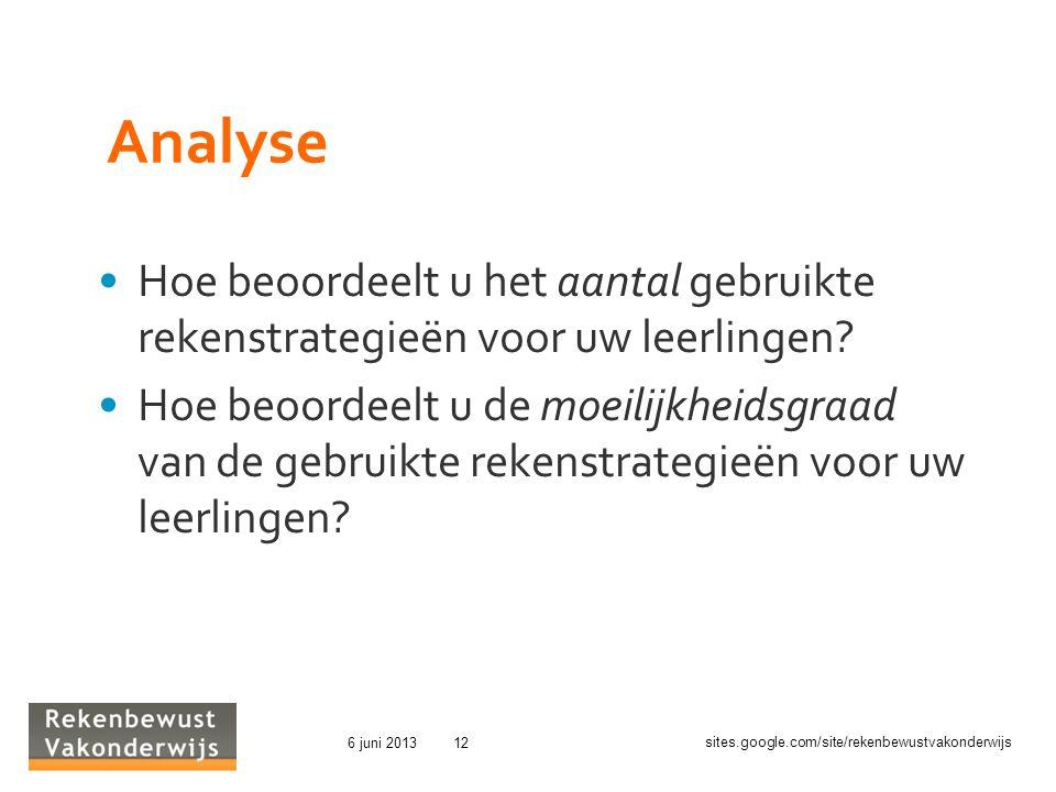 Analyse Hoe beoordeelt u het aantal gebruikte rekenstrategieën voor uw leerlingen