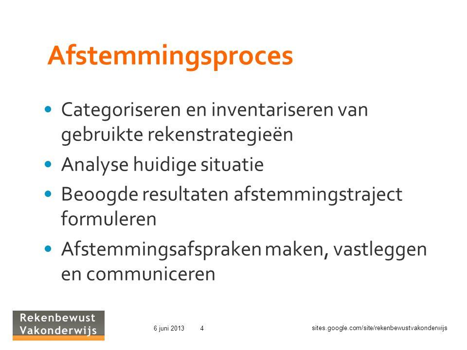 Afstemmingsproces Categoriseren en inventariseren van gebruikte rekenstrategieën. Analyse huidige situatie.