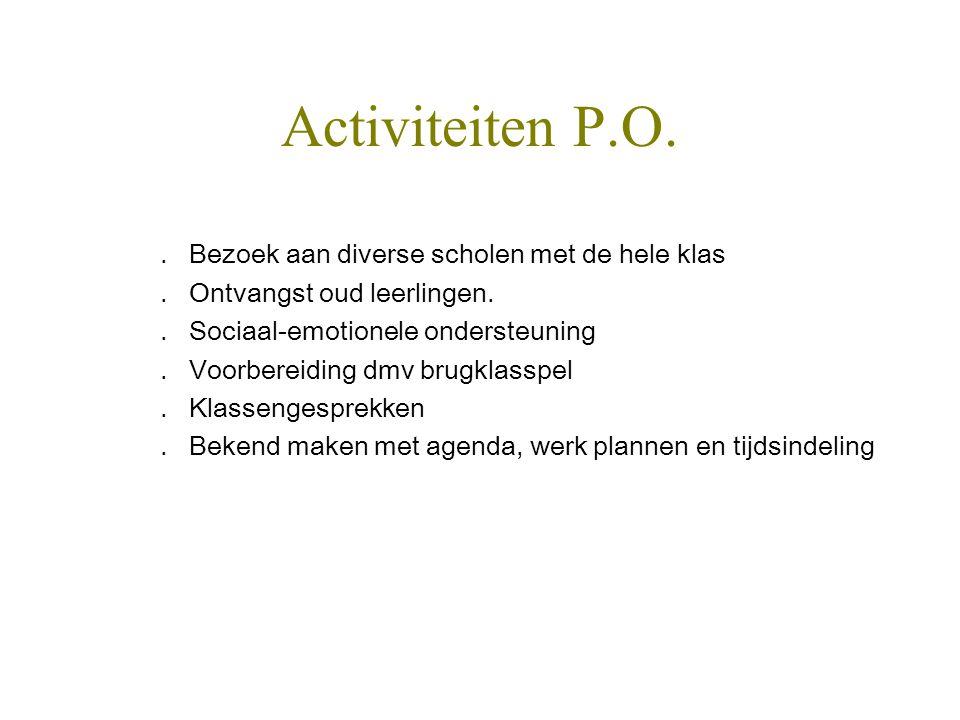 Activiteiten P.O. . Bezoek aan diverse scholen met de hele klas
