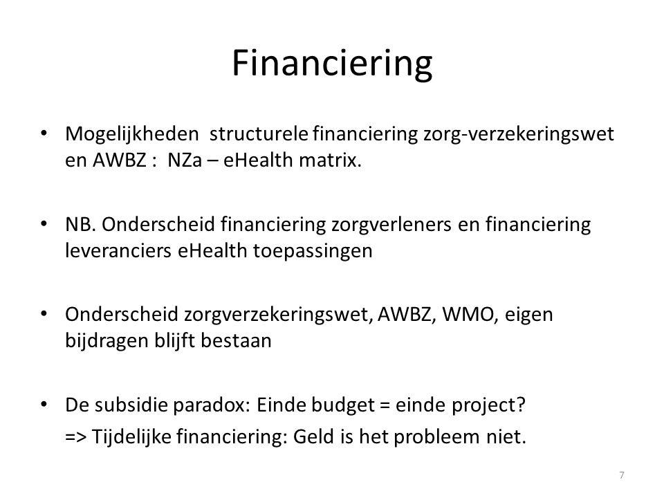 Financiering Mogelijkheden structurele financiering zorg-verzekeringswet en AWBZ : NZa – eHealth matrix.