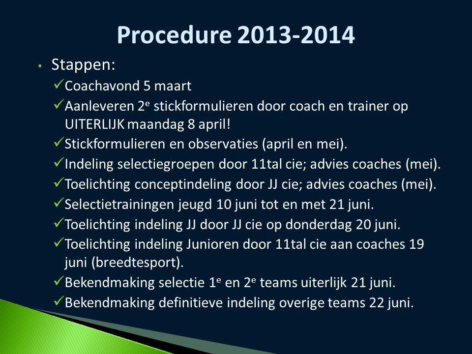 Procedure 2013-2014 Stappen: Coachavond 5 maart