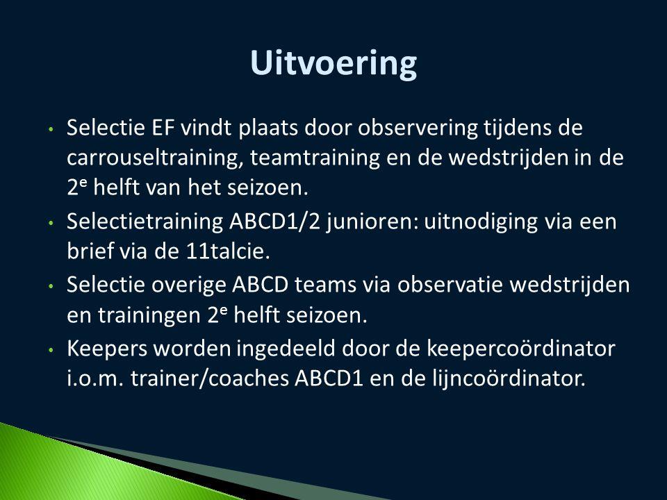 Uitvoering Selectie EF vindt plaats door observering tijdens de carrouseltraining, teamtraining en de wedstrijden in de 2e helft van het seizoen.